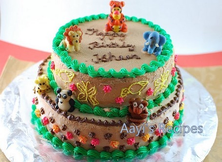 Chocolate Cake   First Birthday Jungle Cake - Aayis Recipes