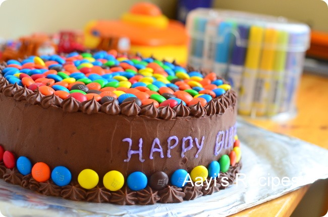 Decorating Ideas > M & M (Gems) Cake With Chocolate Buttercream  Aayis Recipes ~ 031148_Cake Decoration Ideas With Gems