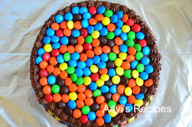 M & M (Gems) Cake with Chocolate Buttercream - Aayis Recipes