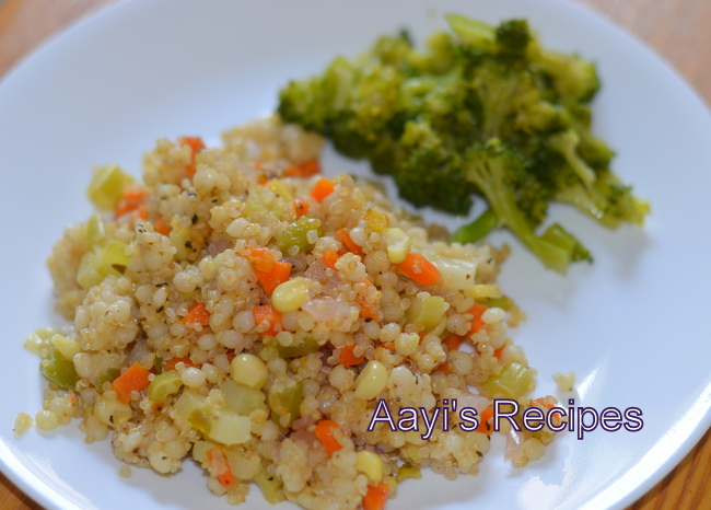 Quinoa - Pearl Couscous with Vegetables - Aayis Recipes