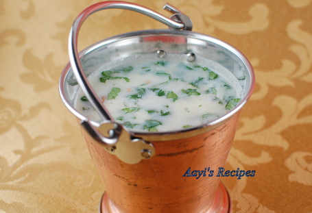 Buttermilk Gravy/Soup (Taka Kadi) with buttermilk chillies