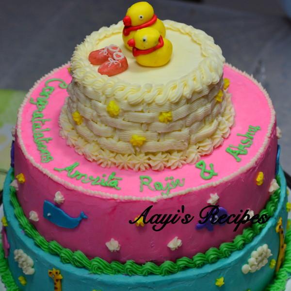 animal themed baby shower cake3